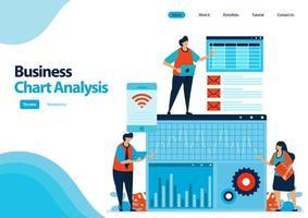 modello di pagina di destinazione dell'analisi del grafico aziendale per pianificare la strategia e lo sviluppo aziendale. rivedere e analizzare i rapporti sulle prestazioni. illustrazione per ui ux, sito Web, web, app mobili, flyer, annunci vettore