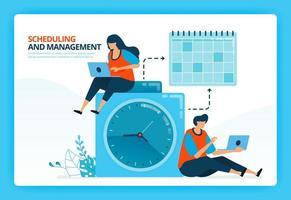 illustrazione vettoriale per la pianificazione del tempo e la gestione della pianificazione. personaggi dei cartoni animati di vettore umano. design per pagine di destinazione, web, sito web, pagina web, app mobili, banner, flyer, brochure, poster