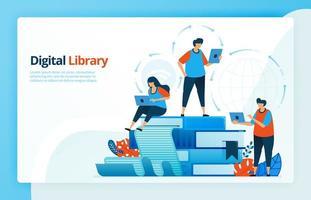 illustrazione vettoriale di attività di apprendimento a distanza e biblioteche digitali. istruzione 4.0, gli studenti imparano da casa. e-learning e e-library. progettato per pagine di destinazione, web, app mobili, poster