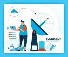 illustrazione vettoriale per connessione internet e trasmettitore per la comunicazione. personaggi dei cartoni animati di vettore umano. design per pagine di destinazione, web, sito web, pagina web, app mobili, banner, flyer, brochure