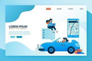 illustrazioni di cartoni animati per leggere le indicazioni di navigazione mobile nelle app mappe. trova posizioni in base a sondaggi, valutazioni e livelli di soddisfazione. disegno vettoriale per pagina di destinazione, web, app mobili, poster