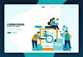 fumetto illustrazione di fare domanda per un lavoro. disegno vettoriale per poster di applicazioni mobili banner web sito Web pagina di destinazione