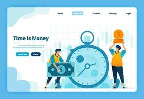 la pagina di destinazione del tempo è denaro. gestione finanziaria per investimenti finanziari e cambio valuta. illustrazione della pagina di destinazione, sito Web, app mobili, poster, volantino vettore