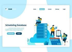 progettazione della pagina di destinazione vettoriale della pianificazione del database. gestione e hosting del sistema cloud. illustrazione della pagina di destinazione, sito Web, app mobili, poster, volantino