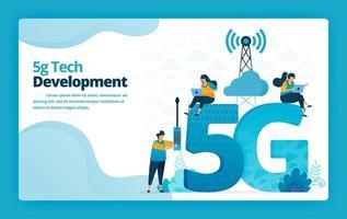 illustrazione vettoriale della pagina di destinazione della tecnologia avanzata 5g per lo sviluppo e la gestione delle reti Internet. design per sito Web, web, banner, app mobili, poster, brochure, modello, annunci, homepage