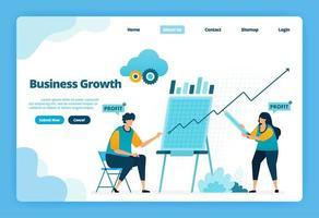 pagina di destinazione della crescita aziendale. pianificare una strategia per aumentare le vendite e i profitti dell'azienda. illustrazione della pagina di destinazione, sito Web, app mobili, poster, volantino vettore