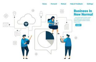 nuovo normale business con servizi di database connessi e cloud computing, analisi del business per sopravvivere in pandmic covid 19. illustrazione design di landing page, sito web, app mobili, poster, banner vettore