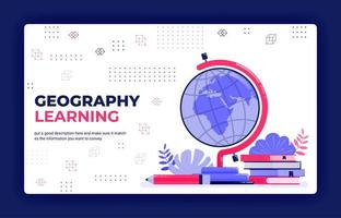 illustrazione vettoriale di pagina di destinazione dell'apprendimento della geografia. cartografia per la lettura di mappamondi, mappe, atlanti mondiali. può essere utilizzato per il modello di banner dell'elemento di sfondo del volantino del manifesto delle app mobili del sito Web