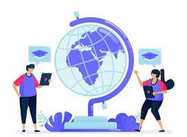 illustrazione vettoriale per globo di istruzione, apprendimento e trasferimento di conoscenze. programmi di borse di studio mondiali per studenti. può essere utilizzato per landing page, sito web, web, app mobili, poster, volantini