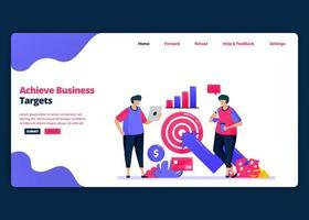 modello di banner fumetto vettoriale per raggiungere obiettivi di business con analisi finanziaria. modelli di design creativo di pagine di destinazione e siti Web per le imprese. può essere utilizzato per web, app mobili, poster, volantini