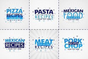 libro di cucina blu impostato per riviste di cibo e ricette. titoli di menu di ristoranti o badge per negozi di alimentari e ristoranti. design minimalista per banner di ricette
