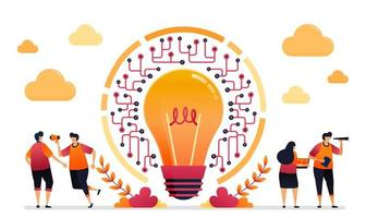 illustrazione vettoriale di idea e ispirazione per la rete. connessione e accessibilità nella tecnologia iot. progettazione grafica per pagina di destinazione, web, sito Web, app mobili, banner, modello, poster, volantino