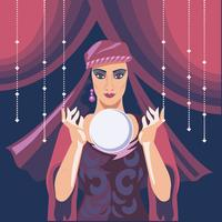 Illustrazione di Fortune Teller Woman Reading Future su Magical Crystal Ball vettore