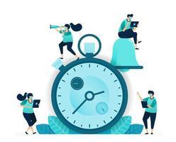 illustrazione vettoriale di cronometro per la concorrenza e l'intervallo di lavoro. app di notifica con campanello per la pianificazione e la pianificazione. donne e uomini lavoratori. progettato per sito Web, web, pagina di destinazione, app, poster