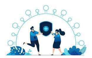 illustrazione vettoriale di servizi di assicurazione di protezione sanitaria per il virus covid-19. simbolo di salute croce scudo. può essere utilizzato per pagina di destinazione, sito Web, web, app mobili, banner per volantini, modello, poster