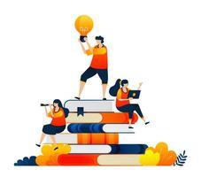 studenti educativi seduti su una pila di libri. idee nelle mani degli studenti. il concetto di illustrazione vettoriale può essere utilizzato per la pagina di destinazione, modello, ui ux, web, app mobile, poster, banner, sito Web, flyer