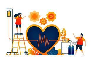 controllare la salute del cuore con il simbolo dell'amore e della cardiologia delle onde. trattamento sano. il concetto di illustrazione vettoriale può essere utilizzato per la pagina di destinazione, modello, ui ux, web, app mobile, poster, banner, sito Web, flyer