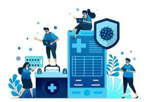 illustrazione vettoriale di applicazioni di servizi sanitari ospedalieri e cliniche mobili per la gestione della pandemia covid-19. può essere utilizzato per pagina di destinazione, sito Web, web, app mobili, banner per volantini, modello, poster