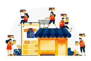 illustrazione dello shopping e della spesa con le app di e-commerce. possiedi il tuo negozio con l'e-commerce. trova l'articolo giusto con i negozi online. modello di pagina di destinazione per web, siti Web, sito, banner, flyer vettore