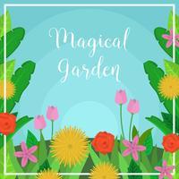 Illustrazione di vettore del giardino magico piatto