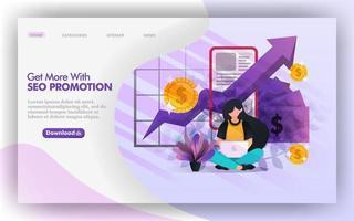 ottimizzazione dei profitti con illustrazione web vettoriale promozione seo, ragazza che studia promozione seo per aumentare il reddito. facile da usare per sito web, banner, brochure, stampa, mobile, app, poster, modello, ui ux