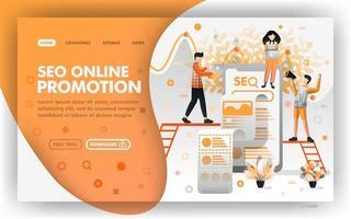 seo promozione online vettore web concept. persone che ottimizzano la promozione sul motore di ricerca. facile da usare per elemento del sito web, banner, pagina di destinazione, brochure, flyer, stampa, mobile, app, poster, modello, ui