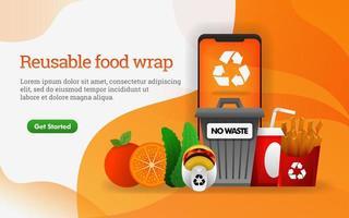 Cibo 3d. cibo spazzatura con tema di ridurre, riutilizzare, riciclare. contiene discarica, patatine fritte e hamburger. può utilizzare per, pagina di destinazione, modello, web, banner, illustrazione vettoriale, promozione online, marketing su Internet vettore