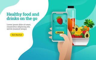 Frutti 3d. cibi e bevande sani in movimento. le persone ordinano frutta e verdura sane con l'applicazione. può utilizzare per, pagina di destinazione, web, app per dispositivi mobili, promozione online, marketing su Internet vettore