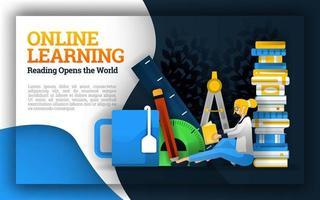 illustrazione dell'apprendimento online. studenti che leggono in mezzo a cancelleria e tazze da tè. i siti web di apprendimento gratuito aiutano i governi, le scuole, gli insegnanti e gli studenti a migliorare la qualità dell'istruzione vettore