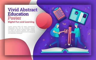 illustrazione di vivaci abstract con il tema dell'educazione. lo studente che stava scrivendo su un libro gigante. può essere per poster e siti web. nuovo metodo di apprendimento per gli studenti e più facile per gli insegnanti vettore