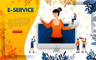 le donne servono i clienti con la tecnologia dei servizi digitali. e-service per assistere le attività di avvio online, illustrazione vettoriale di concetto. può essere utilizzato per, pagina di destinazione, modello, interfaccia utente, web, app mobile, poster
