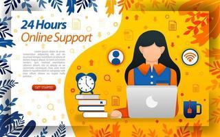 24 ore di servizio clienti. collegamento in linea. servizio online per aiutare i clienti, illustrazione vettoriale di concetto. può essere utilizzato per, pagina di destinazione, modello, interfaccia utente, web, app mobile, poster, banner, flayer