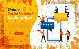app di chat online. social network per inviare messaggi. app mobili per chat, illustrazione vettoriale di concetto. può essere utilizzato per, pagina di destinazione, modello, interfaccia utente, web, app mobile, poster, banner, flayer
