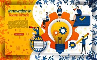 l'innovazione nel lavoro aumenta la creatività e il lavoro di squadra con idee e luci, illustrazione vettoriale di concetto. può essere utilizzato per pagina di destinazione, modello, interfaccia utente, web, app mobile, poster, banner, volantino, documento, sito web