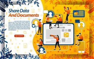 condividere i dati per gli incarichi di college e lavoro. condivisione di documenti per lavoratori e imprese, illustrazione vettoriale di concetto. può essere utilizzato per pagina di destinazione, modello, interfaccia utente, web, app mobile, poster, banner, flyer