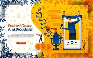 influencer online e streamer di trasmissione. podcast live o radio online per smartphone, illustrazione vettoriale di concetto. può essere utilizzato per pagina di destinazione, modello, interfaccia utente, web, poster, banner, volantino, documento, sito Web
