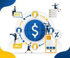 circolazione del denaro e commercio nel mondo. trasferire e inviare valute da qualsiasi luogo, illustrazione vettoriale di concetto. può essere utilizzato per pagina di destinazione, modello, interfaccia utente, web, app mobile, poster, banner, sfondo