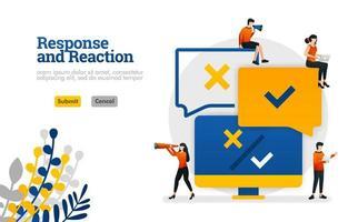 applicazione di elaborazione di risposta e reazione dai commenti degli utenti per il concetto di illustrazione vettoriale di prodotti può essere utilizzata per, pagina di destinazione, modello, ui ux, web, app mobile, poster, banner, sito web