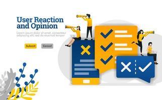 reazione dell'utente e opinione di conversazione con app per il marketing e il concetto di illustrazione del settore pubblicitario possono essere utilizzati per, pagina di destinazione, modello, ui ux, web, app mobile, poster, banner, sito web vettore