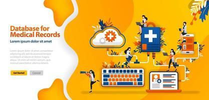 database cloud per cartelle cliniche e sistemi di comunicazione ospedaliera collegati in wifi, smartphone e laptop.Il concetto di illustrazione vettoriale può essere utilizzato per la pagina di destinazione, ui, web, app mobile, poster