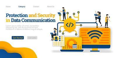 protezione e sicurezza nella comunicazione dei dati. proteggere il percorso di condivisione dei dati per la sicurezza degli utenti. concetto di illustrazione piatta vettoriale, può essere utilizzato per, landing page, template, web, homepage, poster, banner, flyer vettore