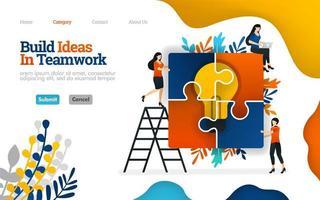 costruire idee nel lavoro di squadra, assemblando puzzle per l'ispirazione, lavoro di squadra per le idee. concetto di illustrazione piatta vettoriale, può essere utilizzato per, pagina di destinazione, modello, ui, web, homepage, poster, banner, flyer vettore