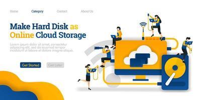 crea hard disk come archivio cloud online. condivisione di file in hard storage su cloud hosting. concetto di illustrazione piatta vettoriale, può essere utilizzato per, pagina di destinazione, modello, ui, web, homepage, poster, banner, flyer vettore