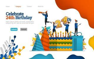 festeggiare compleanni, giorni di festa, 24 ° anniversario. torta di compleanno e attrezzatura. concetto di illustrazione piatta vettoriale, può essere utilizzato per, pagina di destinazione, modello, ui, web, homepage, poster, banner, flyer