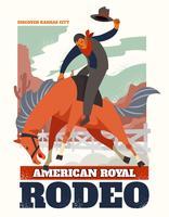 Progettazione di vettore dell'aletta di filatoio del rodeo con l'illustrazione del rodeo