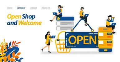 segno aperto visualizzato sulla parte anteriore del negozio. icona di e-commerce mobile per affari e tecnologia. stile icona piatto adatto per pagina di destinazione web, banner, flyer, adesivo, sfondo, sfondo, carta, poster vettore
