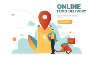 servizio di consegna cibo. applicazione mobile. giovane corriere maschio con un grande zaino in sella a una moto. illustrazione vettoriale modificabile piatta, clip art.