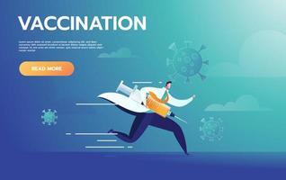 il dottore corre con la siringa. vaccinazione contro virus, ago e farmaco, illustrazione vettoriale. vettore