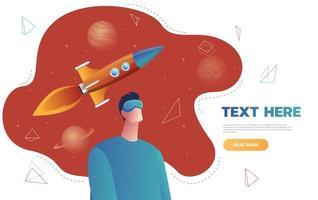 personaggio isolato giovane uomo in un casco di realtà virtuale, lancio di un razzo spaziale. concetto di fantascienza e spazio, vr. illustrazione vettoriale colorato cartone animato piatto.