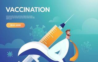leader medico eroe che combatte i sintomi del virus corona. grafica vettoriale di medico eroe. medici che combattono i sintomi del covid-19 con il vaccino anti-virus.